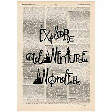 Explore Adventure Wonder Dictionary Print OOAK, Travel, Art,Unique, Gift,
