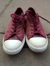 WOMENS LADIES GLITTER PASTEL ROSE LOW TOP ALL STAR CONVERSE TRAINERS SIZE UK 5.5