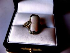 ANTIQUE 14K WHITE GOLD FILIGREE RING with NATURAL OPAL,ART DECO,1920's