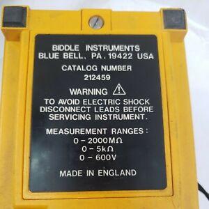 Biddle 212459 Megger Insulation Tester W/ Case 2 sets Leads-Batteries-Tested