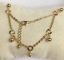 18k Solid Yellow Gold Cute Bell Charms Italy Bracelet, 6.5 Inches, 4.13 grams