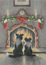 Border Collie Dog Cute Puppy Painting Christmas Xmas Card