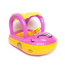 Baby Float Seat Boat Inflatable Ring Adjustable Car Sunshade Swim Pool Pink