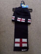 NEW M&S KIDS BOYS NAVY BLUE ENGLAND FLAG HAT & SCARF SET 6-7 YEARS RRP:£12