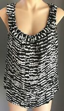 Smart Casual BARKINS Black & White Print Sleeveless Frilled Edged Top Size 12