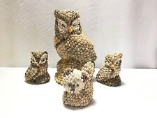 Lot of 4 Sea Shell Figurines 3 Owls and 1 Kitten