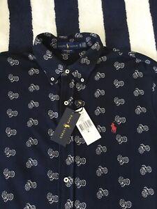 *BNWT* Mens Ralph Lauren Dark Blue 'Bicycle' Pattern Shirt In XL