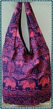 rayon hippie boho beach overshoulder or sling bag elephant print bag red