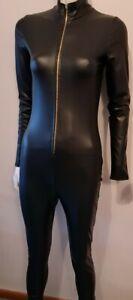 5th Culture Black Catsuit Medium front zip Fetish BDSM Clubwear