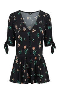 Pour Moi Slinky Jersey Tie Sleeve Top - Black Floral UK 18