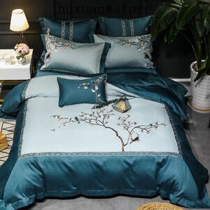 Embroidery Floral Bird Cover White Luxury 600TC Egyptian Cotton Soft Bedding Set