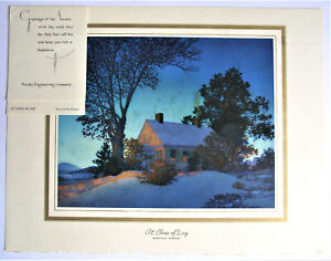 MAXFIELD PARRISH 1957 CLOSE OF DAY CHRISTMAS LANDSCAPE PRINT BROWN BIGELOW VTG