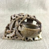 Cinese Intagliati Beige Vaso Pentola Vintage Talco Orientale Ornamento Figura