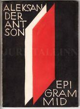 AVANT-GARDE Cover Jaan VAHTRA Aleksander Antson EPIGRAMMID II 1930 Book ESTONIA