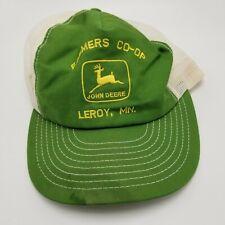 JOHN DEERE LEROY MN CO-OP Hat Cap Louisville Ky USA Green Snapback Mesh Vtg Farm