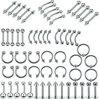 60pcs Stainless Steel Navel Ring Belly Button Ear Body Nose Lip Piercing Jewelry