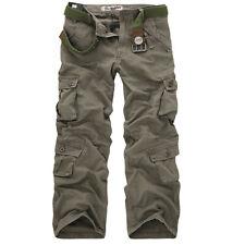 Men's Travel Hiking Cargo Combat Trousers Military Camo Multi Pockets Long Pant