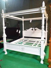6' Super King size WHITE Queen Anne style four poster mahogany designer bedframe