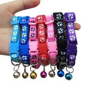 1-Cute Paw Print Adjustable Kitten Collar Bell Tie Cat Pet Puppy Colourful Nylon