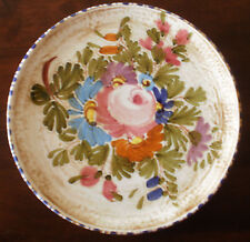 Unique Hand Painted Plate Colorful Pink & Blue Flowers w/Leaves & Colorful Edge