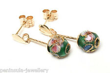9ct Gold Green Chinese Enamel Ball drop earrings Made in UK Gift Boxed