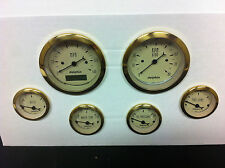 DOLPHIN 6 PRO TAN STREET ROD GAUGES WITH GOLD RINGS  HOT ROD, UNIVERSAL