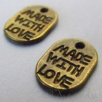 Made With Love Wholesale Antiqued Bronze Charm Pendants C4389 - 20, 50 Or 100PCs