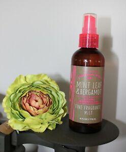 Bath & Body Works MINT LEAF BERGAMOT 6oz Fragrance Mist Spray Essential Oils
