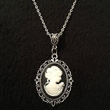 "Vintage Lady Cameo Pendant Cabochon Black Necklace 24"" Steampunk Woman Silver UK"
