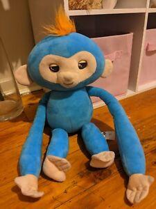 Large Fingerling Blue W Orange Hair Battery Operated Monkey Noises Kisses Plush