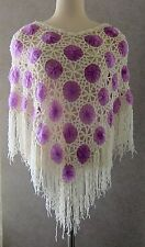 LAVENDER & WHITE CROCHETED PONCHO One Size Fits All with tag MINT Extremely Soft