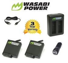 Wasabi Power Hero 5 Battery (v03) x 2 (1220mAh) + DUAL CAR USB CHARGER for GoPro