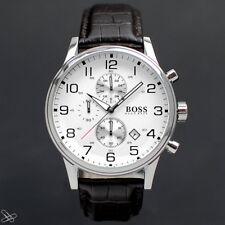 Hugo Boss 1512447 Herrenuhr Chronograph Farbe: Braun mit Kroko-Lederprägung