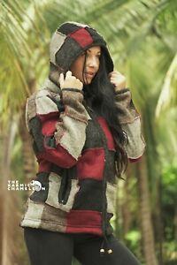 Warm Wool Jacket Patchwork Grey Maroon Hippie Fleece Lined Coat Hoodie Nepal
