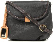 UGG Bag Classic Mini Flap Black Auburn Leather Crossbody NEW $165