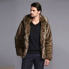 Winter Hooded Men's Faux Mink Fur Coat Jacket Parka Thick Outwear Overcoat Warm