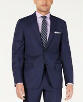 DKNY Men's Modern-Fit Indigo Plaid Suit Jacket 44R Wool