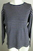 EDDIE BAUER Women's Top Medium Purple Blue Gray Striped Long Sleeve 100% Cotton