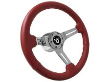 1964 - 1969 Ford / Mercury V8 Red Leather Steering Wheel Kit | V8 Emblem
