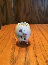 """New listing Vintage 1960s Japan Enesco Porcelain 3 legged Egg 2.25"""" Toothpick Holder Flower"""