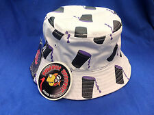 Purple Drank Printed White Full-Brim Bucket Hat ONE SIZE Piranha Records