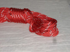"Double Braid Polyester 3/8""x 50 feet yacht braid halyard line red white tracers"