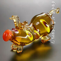 Glass figurine pig made of colored glass. Lenght 9 cm / 3.6 inch!