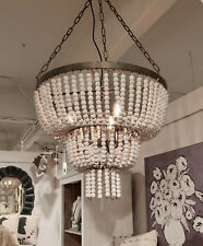 CHARMING FRENCH FARMHOUSE BOHO BEADED WOOD VINTAGE STYLE WHITE CHANDELIER NEW!
