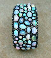 Beautiful Handmade Bracelet Opal Gemstone With Pave Diamond  925 Sterling Silver