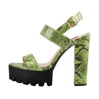 Onlymaker Women Ankle Strap Snake Print Chunky Platform High Heels Sandals Green