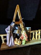 Elements Porcelain Nativity Scene Features Holy Family and Word FAITH 6.5 Inches