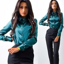 Lady Womens Button Long Sleeve Casual Blouse Ladies OL Work Formal T Shirt Tops Green 2xl