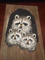 J. Weir signed raccoons   FOLK ART PAINTING on reclamed wood  So Cute LOOK!