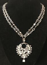 GUESS Statement Silver Tone Thick Necklace Rhinestone Crystal Cocktail Party (E9